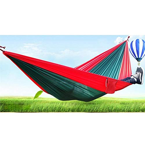 ZYR Assorted Color Hanging Sleeping Bed Parachute Nylon Fabric Outdoor Camping Hammocks Double Person Portable Hammock,Dark Green Red