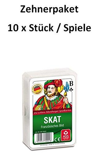Zehnerpaket/ 10 Stück / 10x ASS Altenburger - Skat - Französisches Bild - Französisches Blatt - Kartenspiel/ Kartenspiele