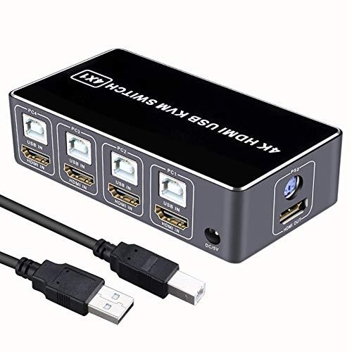 HDMI KVM Schakelaar, 4K Ultra HD KVM Schakelaar Delen Stabiele USB HDMI voor Muis Toetsenbord Hub 4 Port, voor win7/voor win10/voor MAC Zwart