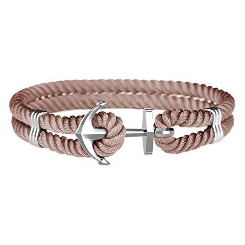 Amtier Anchor Bracelet for Men Women Couples with Gift Box, Mens Womens Anchor Bracelets in Nylon & Stainless Steel Unisex Bracelet Brown