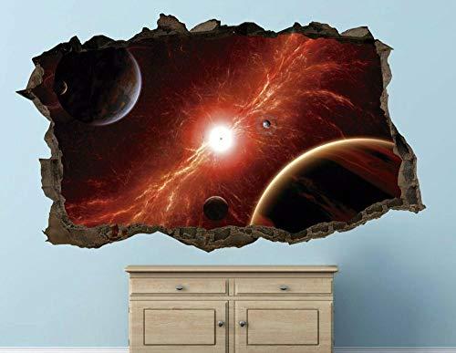 LMMLYR 3D Pegatinas de pared Foto del planeta espacial personalizada Extraíble Agujero en la pared Vinilo Decorativo Pegatinas Vista de Efecto Adhesivos De Pared