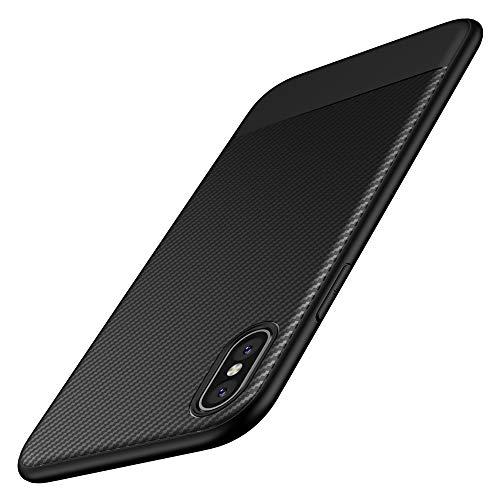 Coque iPhone XS, Coque iPhone X, Yokase Ultra Mince Carbon Fiber TPU Shock Absorption [Poids léger] [Anti-rayures]...
