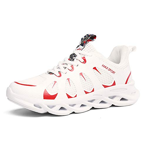 CXQWAN Chaussures de Marche légères pour Homme Antidérapant Résistant à l'usure Convient pour la Marche, la Gym, Le Jogging, Le Fitness athlétique, Blanc, 44