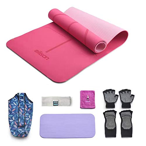 EILISON PROFESSIONAL EILISON PROFESSIONAL Yoga Mat Non Slip, Eco Friendly Fitness Exercise Mat with Carrying Strap,Pro Yoga Mats for Women,Workout Mats for Home, Pilates and Floor Exercises( 7 Pieces Set)