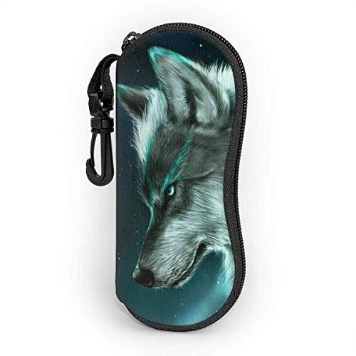 YZXC Moonlight Wolf Brillenetui für Frauen und Männer, tragbare Sonnenbrille Soft Case mit Karabinerhaken