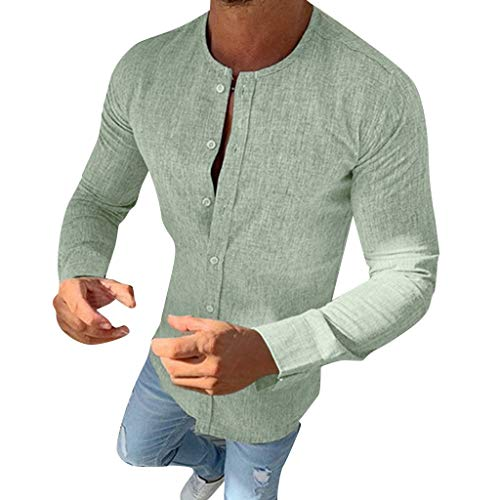Snowmolle Mens Shirt Casual Button Down Long Sleeve O Neck Curved Hem Lightweight Basic Regular Fit Summer Beach Tops Green