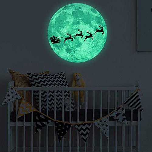 99native DIY Weihnachten Luminous Moon Wandaufkleber, Weihnachtsglühen Fenster Aufkleber Leuchtende Abnehmbare Glaswandaufkleber Kinderzimmer Schlafzimmer Weihnachtsdekoration Wohnkultur (Blau)