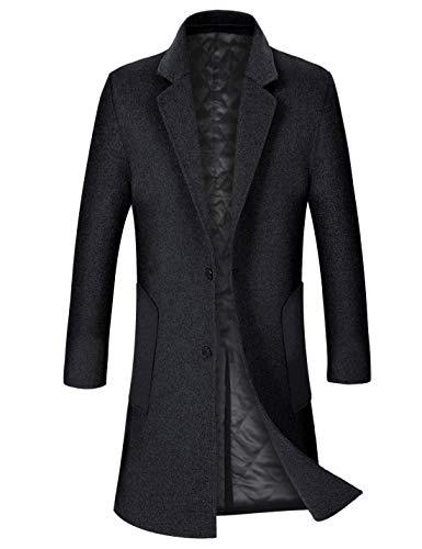 ZHPUAT Men's Wool Overcoat Long Pea Coat Winter Trench Coat Slim-Fit Business Top Coat Black02-thick XX-Large