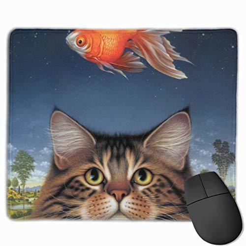 Gaming Mouse Pad Wildlife Art Katzenfutter Heute Goldfisch Catatonic Sunset Mouse Matten Anti-Rutsch-Gummibasis Mousepad Matte für Computer Laptop Bürozubehör Schreibtisch Dekor