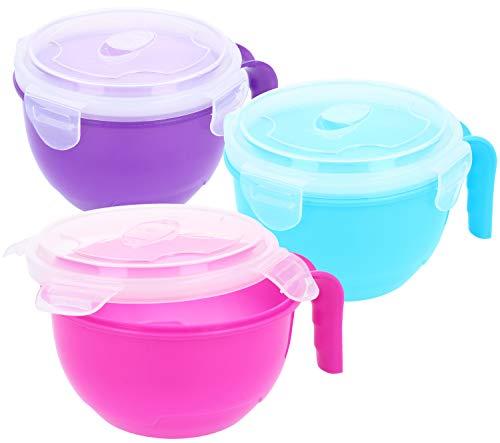 com-four® 3x Suppentasse mit Deckel - Mikrowellengeschirr für unterwegs - Frischhalte-Dose mit Deckel (03 Stück - blau/lila/pink)