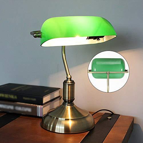 OUKANING - Lámpara de mesa con acabado en latón envejecido y pantalla verde