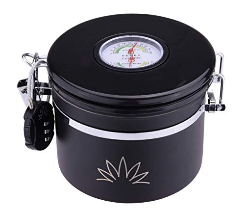 CRYPT - Cannister for storage with built in Hygrometer – Airtight Jar with Humidity Pack & Lock -Smell & Water Proof Keeps Herbs Fresh with RH STAYFRESH HUMIDITY PACK INCLUDED (950ml)