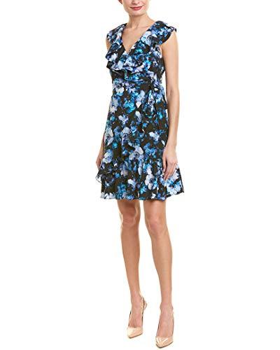 Tahari ASL Women's Sleeveless Ruffle WRAP Dress Casual, Serene Bloom Royal 12