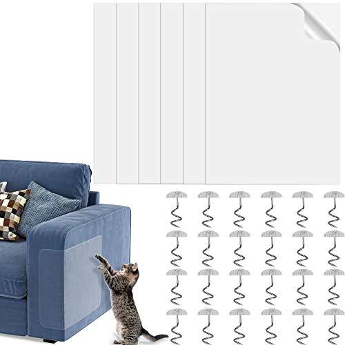 ZHENA 6 Piezas Protector Arañazos Gatos Sofa, Protector de Muebles Transparente Antirayaduras con 24 Tornillos para Proteger Sus Muebles Tapizados - 40 x 30 cm