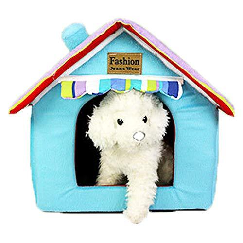 VAN+ - Cama para mascotas para gatos o perros pequeños (33 x 26 x 35 cm), color azul