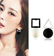 Abnh B084 Korean bronze geometric ear clip without ear hole square asymmetric ear triangle square stud ear(There are earholes. Silver needle. G309)