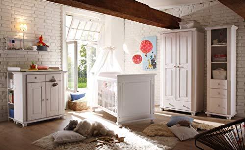 Froschkönig24 Laura Babyzimmer Kinderzimmer Babymöbel Wickelkommode Babybett Kiefer Weiß