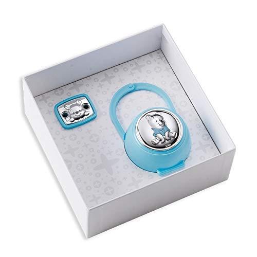 Disney Clip Ciuccio, Catenella Portaciuccio con Box in Argento con dettagli Winnie The Pooh - ideale come regalo per nascita neonato o battesimo