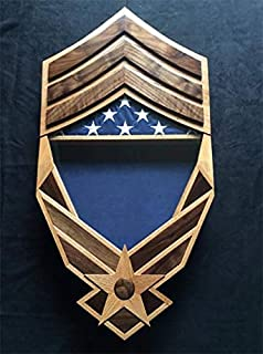 Air Force Chief Master Sergeant Chevron Falcon Shadow Box