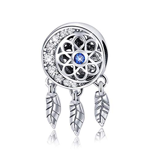 Genuine 925 Sterling Silver Dangle Colour Crystal Dream Catcher Charms for Bracelets and Necklace Birthday Mother's Day Gift (B)