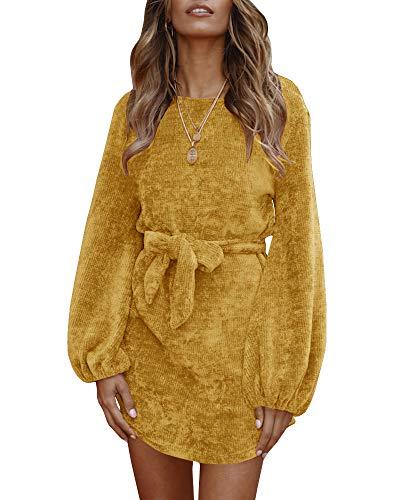 Faisean Womens Velvet High Waist Mini Dress Lace up Long Sleeve Shift Dress with Belt Yellow