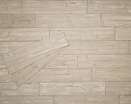 mywoodwall 3D Wandverkleidung Holz Creme Inkl Doppelseitiges Klebeband Safari Moderne Wand- und Decken-Paneele Selbstklebend Vintage Wohnzimmer Schlafzimmer Garderobe