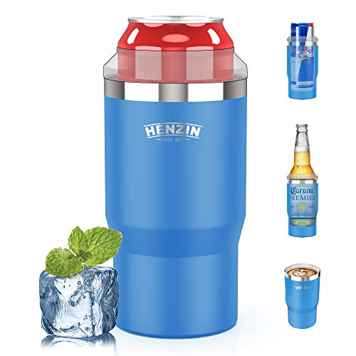 Insulated Can Cooler 4-in-1 Cooler for Cans, Double Walled Stainless Steel Can Cooler for Standard/Tall Skinny Slim Cans,Works with 12 Oz, 16 Oz Cans(Blue)
