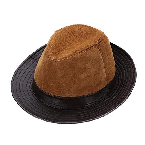 liqun Hombres Sombreros De Vaquero De Cuero De Piel De Oveja Estilo De Moda Gorra De Cuero Natural Real...