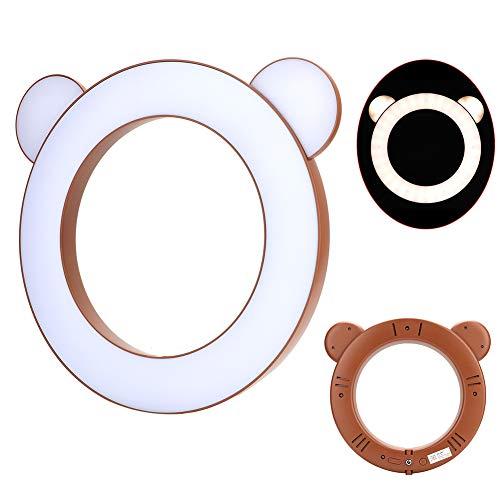 CUEA Iluminación de Maquillaje LED, lámpara de Relleno de luz de Anillo LED Selfie de Maquillaje de Estudio con Soporte de Clip para teléfono para fotografía(Brown Bear)