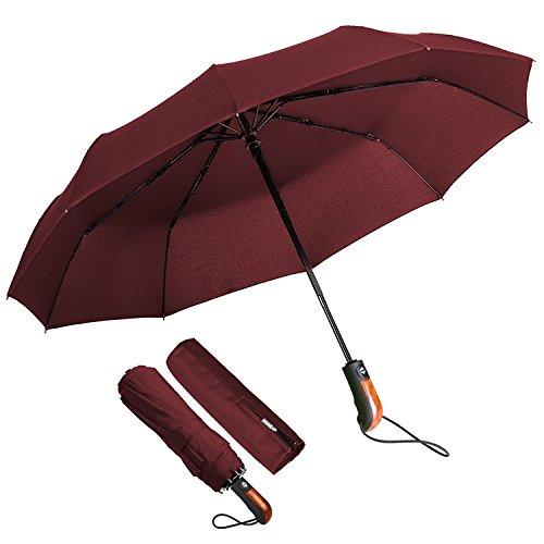 Ombrello Portatile Automatico Antivento, Ombrello Pieghevole Resistente con Custodia 10 stecche rinforzate, Ombrello da Viaggio per Uomo e Donna (Rosso)