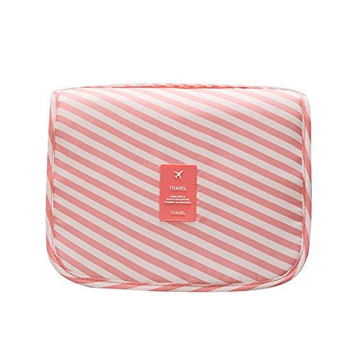 MOye Neceser Maquillaje Impermeable de Gran Capacidad con Gancho Colgante, Viaje Camping Cosas Necesarias,Pink&Stripes