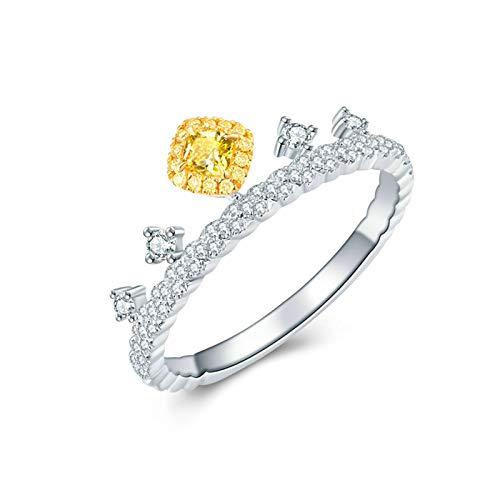Daesar Anillos Oro Blanco Mujer 18K,Anillos de Plata Amarillo Mujer Corona con Cuadrada 0.1ct Diamante Amarillo Blanco 0.2ct Anillo Talla 11