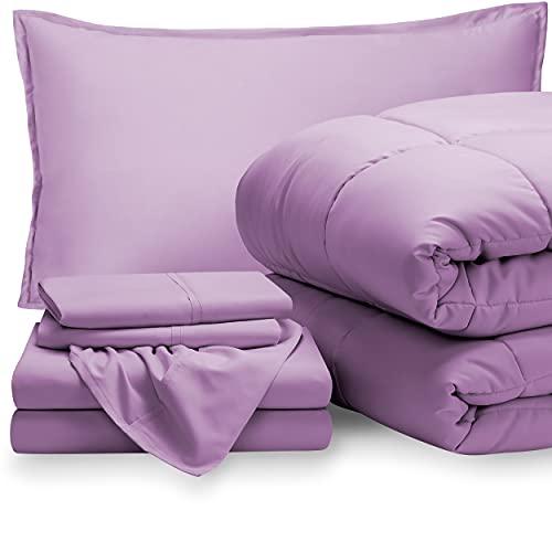 Bare Home Bedding Set 5 Piece Comforter & Sheet Set - Twin XL - Goose Down Alternative - Ultra-Soft 1800 Premium - Hypoallergenic - Breathable Bed Set (Twin XL, Lavender/Lavender)