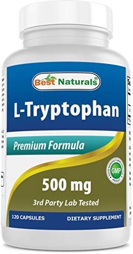 Best Naturals L-Tryptophan 500mg 120 Capsules - tryptophan Supplements for Natural Way to get Good Night Sleep