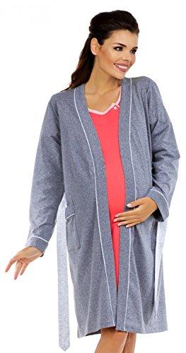 Zeta Ville Nursing Nightdress Robe Labour Hospital Gown Mix & Match 393c (Robe - Graphite, US 4/6, S)