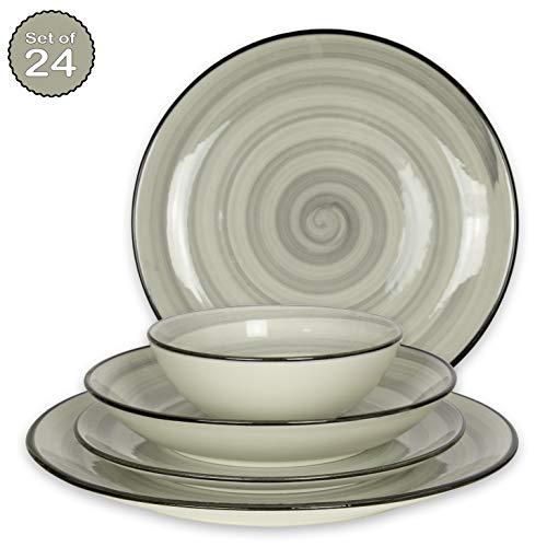 Geschirrset 24-teilig aus Porzellan für 6 Personen - Tiefe Suppenteller, Flache Essteller, Dessertteller und Schüsseln - Hochwertiges modernes buntes Vintage Tafelservice Kombiservice - Grau
