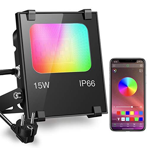 iLC RGB 15W LED Strahler Telefon APP-Steuerung 16 million Farben und 20 Modi - Musik Rhythmus LED Fluter Flutlichtstrahler, IP66 Wasserdicht LED Flutlicht Stimmungslichter Außen Innen