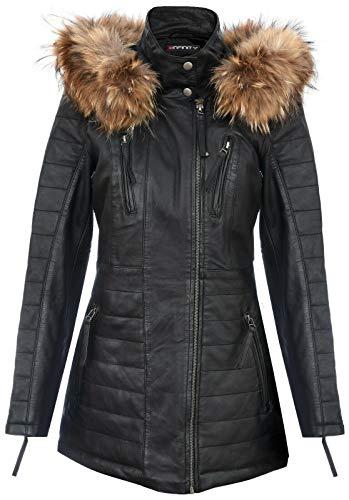 Infinity Leather Schwarze Damen Leder Parka Jacke Gesteppte Abnehmbare Kapuze Regenmantel 3XL