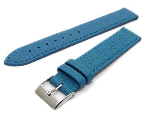 Super Soft Cow Hide Leder Uhrenarmband von Condor hellblau 22mm breit, Chrom (Silber Farbe) Schnalle 348r.12