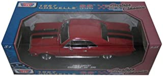 1967 Chevrolet Chevelle SS 396 Red with Black Stripes 1/18 Diecast Model Car by Motormax 73104AC-R