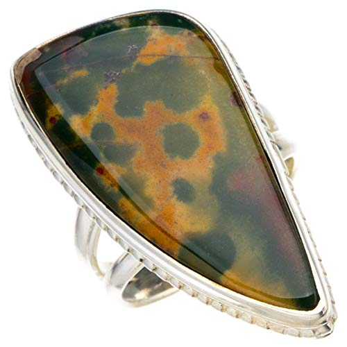 StarGems Natural Piedra de sangre Anillo de plata de ley 925 único hecho a mano 10 7/8 D4397