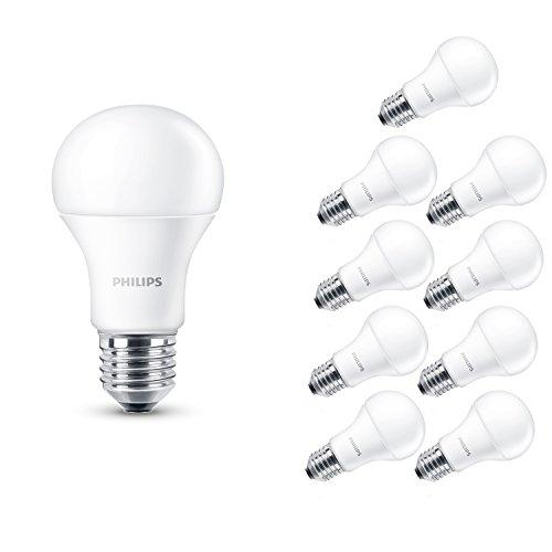 Philips 230 V Culot à vis Edison E27 14W LED Ampoule Lampe Blanc Chaud, Lot de 10, E27 (Edison Screw) 230 volts