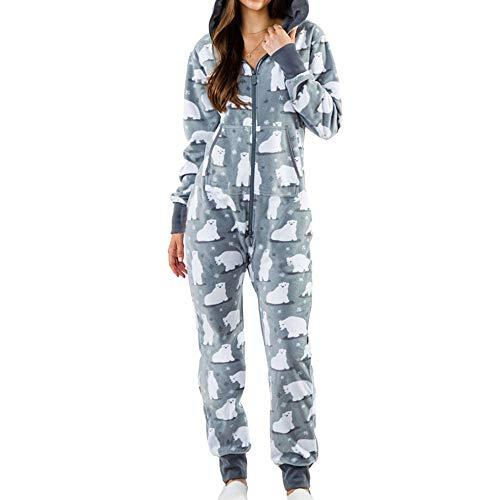 Conjunto Pijama Mujer,Señoras Invierno Cálido Algodón Suave Ropa De Dormir Bolsillo con Cremallera con Estampado De Oso Polar con Capucha Gris Mangas Largas Loungewear Muje
