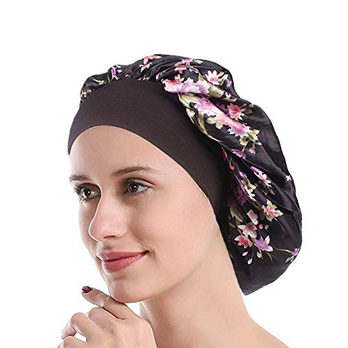 Funcl Womens Sleep Night Cap Wide Band Polyester Bonnet for Hair Beauty,Hair Care Cap,Chemo Beanie,Curly Springy Hair