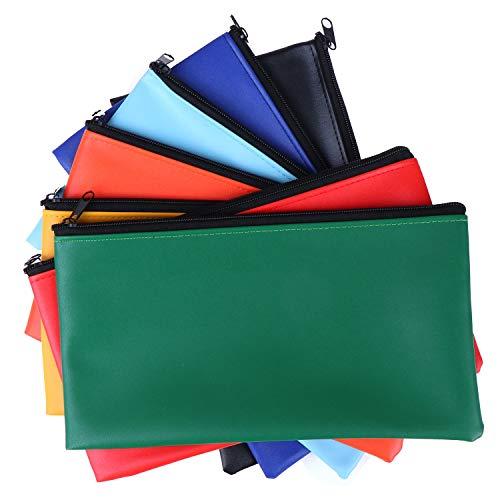14 Packs Bank Deposit Money Bag Leatherette Securit Vinyl Zipper Pouches Wallet Utility Zipper Coin Bags for Cash Money 11x6in7 Colors