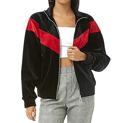 Deelin sweatshirt, voor herfst, winter, dames, sport, casual, kleur blok van velours, geribbeld, sweatshirt, modieus, revers
