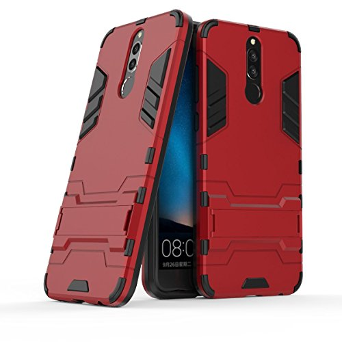 CHcase Coque Huawei Mate 10 Lite, 2 en 1 Nouveau Armour Style Robuste Hybrides Double Couche Armure Defender TPU + PC Hard Coques avec Kickstand Support [Antichoc Coque] pour Huawei Mate 10 Lite -Red