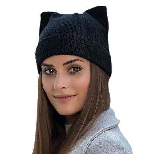 Yixda Damen Winter Strickmütze Warme Mode Beanie Mütze Katze Ohr Mütze (Schwarz)
