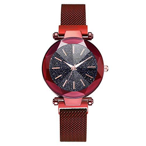 LJJOZ Moda Mujeres Reloj De Pulsera Reloj Magnet Correa De Malla Reloj De Pulsera Aleación De Dial Redondo (Rojo)
