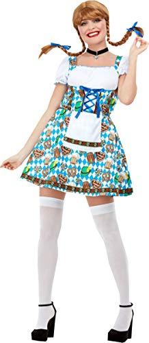 Smiffys Oktoberfest Beer Maiden Costume Blue Large (UK Dress 16-18)